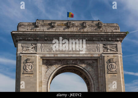 Romania, Bucharest, Piata Arcul de Triumf Square, Arch of Triumph - Stock Photo