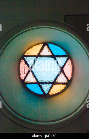 Romania, Bucharest, Tailors Synagogue, housing the Jewish History Museum, Star of David, stained-glass window detail - Stock Photo