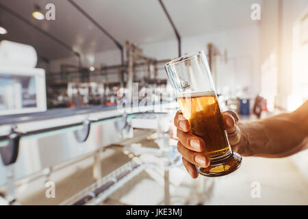 Close up of brewer testing beer at brewery factory. Man hand holding a sample glass of beer. - Stock Photo