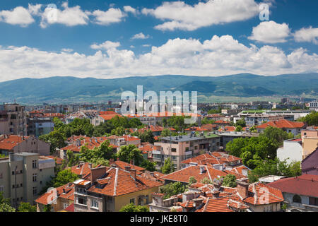 Bulgaria, Southern Mountains, Plovdiv, elevated central city view - Stock Photo