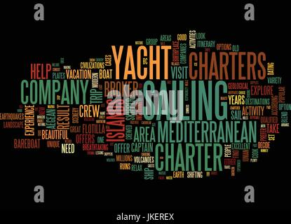 AREAS TO VISIT ON MEDITERRANEAN YACHT CHARTERS Text Background Word Cloud Concept - Stock Photo