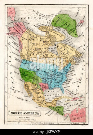 1845 Boynton Map of the North America showing the Republic of Texas, Mexico, Guatemala, West Indies, Upper California, - Stock Photo