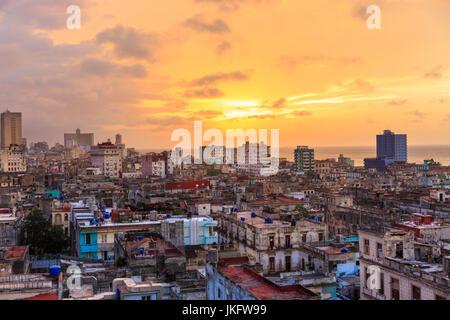 Sunset over Old Havana, La Habana Vieja from above, historic old town rooftop view, Havana, Cuba - Stock Photo