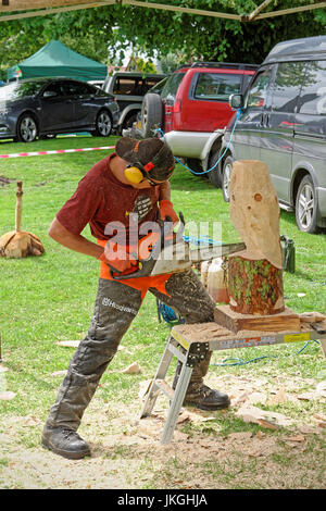 Artist carving an owl from a log of wood using a chain saw - Stock Photo