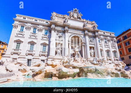 Rome, Italy. Trevi Fountain (Fontana di Trevi) most famous fountain of Rome. - Stock Photo