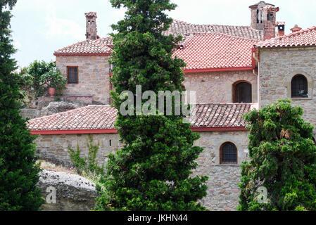 General view of Saint-Stephen monastery, Meteoras, Greece - Stock Photo