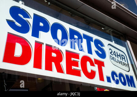 YORK, UK - JULY 18TH 2017: The Sports Direct logo above the entrance to a Sports Direct retail store in the city - Stock Photo