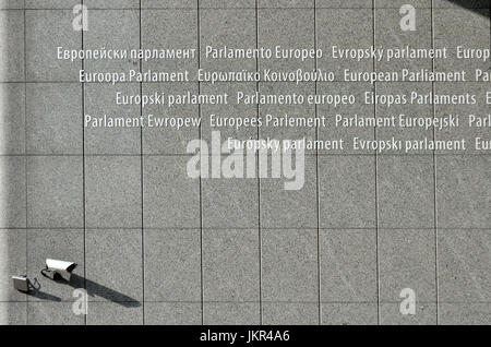 Brussels, Belgium. European Parliament Building. All the languages of the EU at the main entrance - Stock Photo
