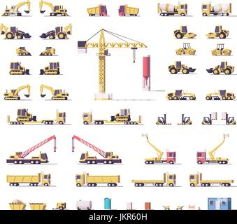 Vector low poly construction machinery - Stock Photo