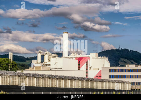 Direct Air Capture of CO2 in Hinwil, CO2 filter, Climaworks startup, KEZO , garbage Incineration, Zurcher Oberland, - Stock Photo