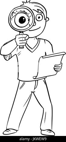 Cartoon hand drawing vector illustration of boy holding hand magnifying glass and piece of paper. - Stock Photo