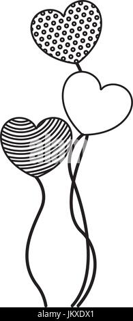 monochrome silhouette of set of group balloons in heart shape - Stock Photo