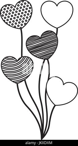 monochrome silhouette of set of several balloons in heart shape - Stock Photo