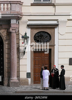 Outside the Archbishop's Palace on Hradcany Square, (Arcibiskupský palác on Hradčanské náměstí), Prague, Czech Republic - Stock Photo