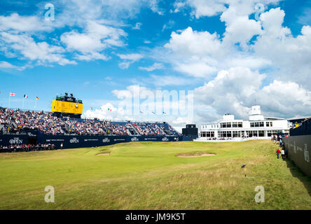 The 18th hole at Royal Birkdale golf course during the 2017 146th Open golf championships. - Stock Photo