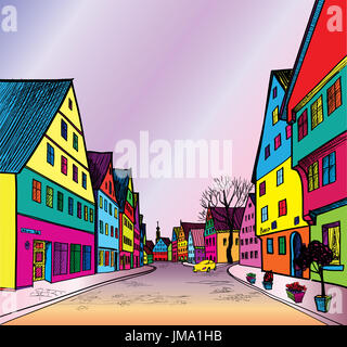 Funky journey. Predistant street in euoropean city. Colorful panorama city vector background in 1960s pop art style. - Stock Photo