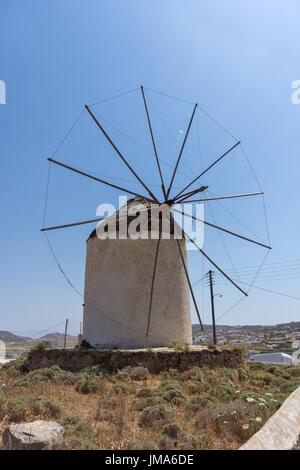 Windmill in Ano Mera town, island of Mykonos, Cyclades Islands, Greece - Stock Photo