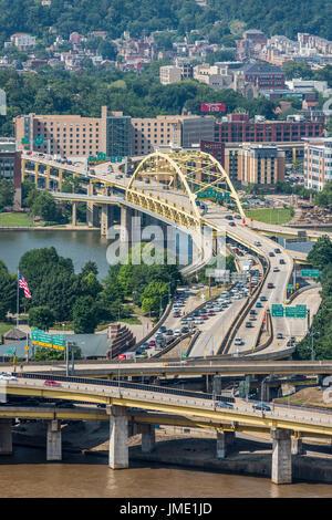 Fort Duquesne Bridge, Pittsburgh - Stock Photo