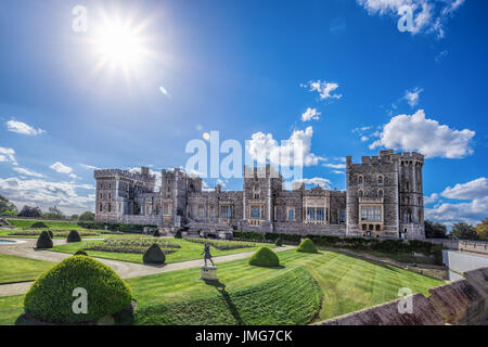Windsor castle with garden near London, United Kingdom - Stock Photo