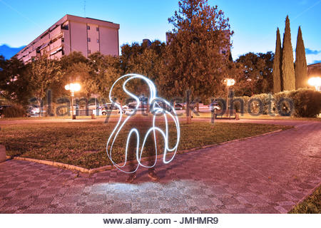 Abstract figure with light paint - Stock Photo
