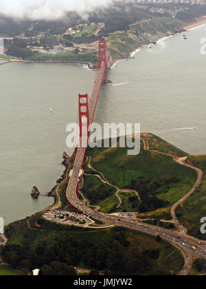 Aerial View of Golden Gate Bridge in San Francisco, California - Stock Photo