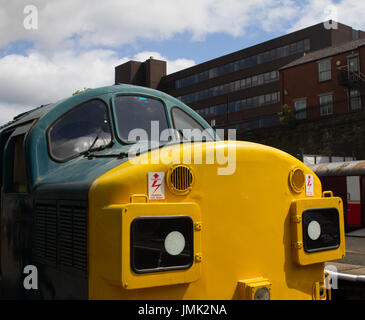 East Lancashire Railway ELR British Railways Rail BR Class 37 Diesel Locomotive close crop nose yellow front end - Stock Photo