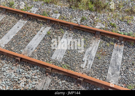 Small section of railway / railroad track - metaphor for 'end of the line', rail transport, and general concept - Stock Photo