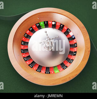 Roulette on green table in casin - Stock Photo