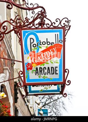 Portobello Garden Arcade sign, Portobello Road, London, UK - Stock Photo