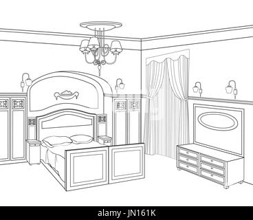 Bedroom furniture. Retro style room. Editable outline sketch of a interior. Graphical interior. - Stock Photo