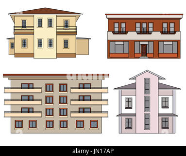 House set. Building isolated collection - Stock Photo