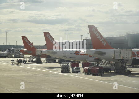 Easyjet aircraft at London Gatwick Airport Crawley West Sussex UK - Stock Photo