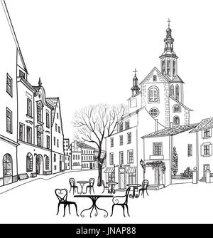 Street cafe in old city. Cityscape - houses, buildings and tree on alleyway. Old city view. Medieval european castle - Stock Photo