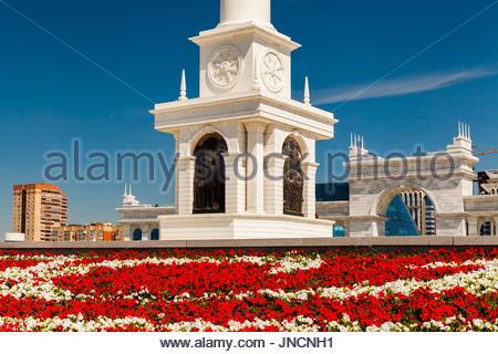 Kazakhstan, Astana, KazakYeli monument Kazakh Country , Shabyt Palace of Arts and the Palace of Independence - Stock Photo