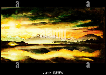 Fine art watercolor painting of dramatic sunset over lake on South Island of New Zealand.  New Zealand landscape - Stock Photo