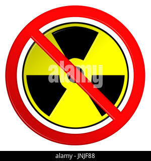 Nuclear symbol in a forbidden red circular sign 3D illustration - Stock Photo