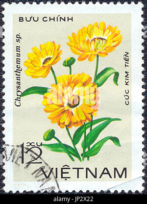 Vietnam - 1981: Postage stamp printed in Vietnam shows chrysanthemum flower. Stamp printed by Vietnamese Post circa - Stock Photo