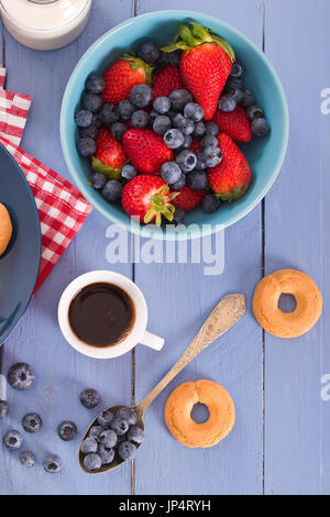 Breakfast with wholegrain cereals. - Stock Photo