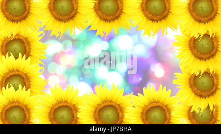 frame sunflower on Blurred fairy lights background - Stock Photo