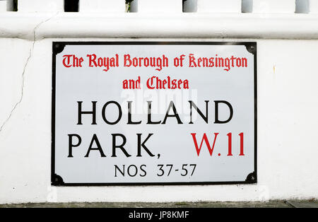 The Royal Borough of Kensington and Chelsea Holland Park W11 street sign in West London W11 England United Kingdom - Stock Photo