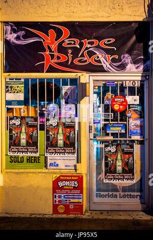 Small Store Facade, Calle Ocho, Little Havana, Miami, Florida, USA - Stock Photo