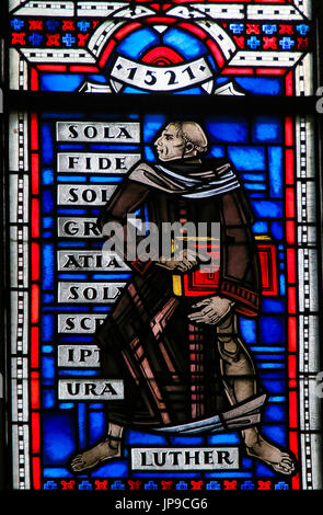 Stained Glass in Wormser Dom in Worms, Germany, depicting Martin Luther - Stock Photo