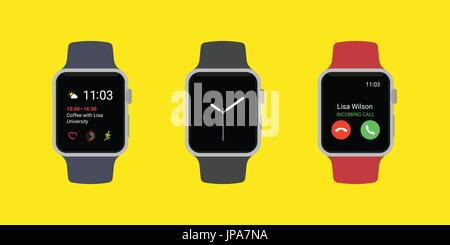 Smart Watch Icons Set. Smartwatches displaying various information in three different color isolated on yellow background. - Stock Photo
