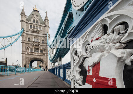 Details of architecture of Tower Bridge with the old tower in the background London United Kingdom - Stock Photo
