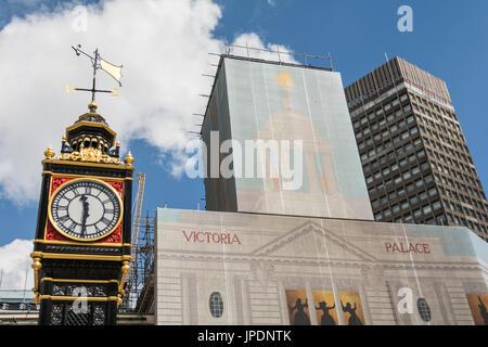 Little Ben a cast-iron 30 feet replica of London's Big Ben in Victoria, London, UK - Stock Photo