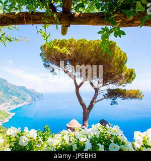 Ravello, Amalfi Coast, Sorrento, Italy. View of the coastline from Villa Rufolo - Stock Photo