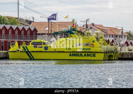 Gothenburg, Sweden - july 24, 2017: Northern Offshore Services large ambulance boat , ambulance van parked on it, - Stock Photo