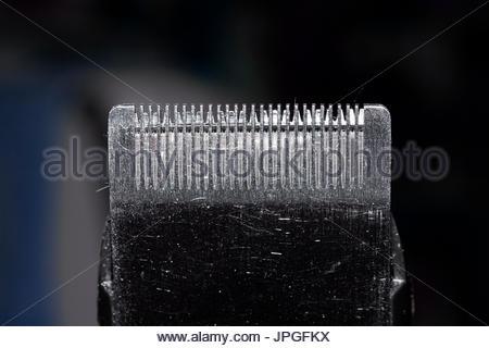 trimmer blade shaving machine macro image - Stock Photo