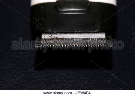 trimmer blade shaving machine macro  isolated - Stock Photo
