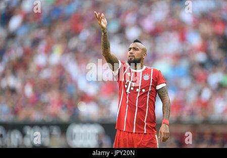 Munich, Germany. 2nd Aug, 2017. Arturo Vidal of Munich gesticulates during the Audi Cup SSC Naples vs Bayern Munich - Stock Photo